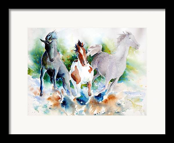 Horses Framed Print featuring the painting Out Of Nowhere by Christie Michelsen