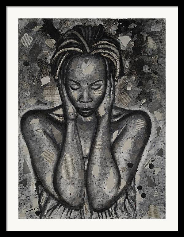 Figurative Framed Print featuring the painting Out Of Touch by Larry Poncho Brown