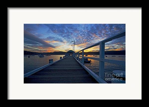 Palm Beach Sydney Wharf Sunset Dusk Water Pittwater Framed Print featuring the photograph Palm Beach Wharf At Dusk by Avalon Fine Art Photography