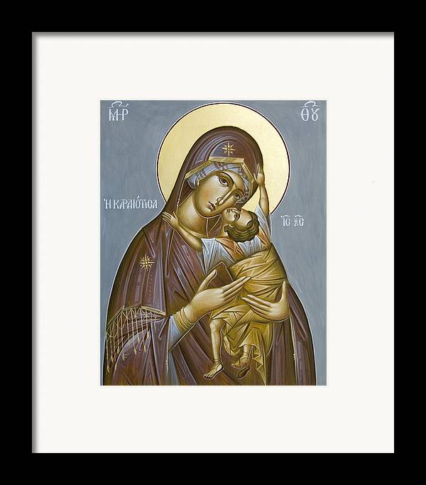 Icon Framed Print featuring the painting Panagia Kardiotissa II by Julia Bridget Hayes