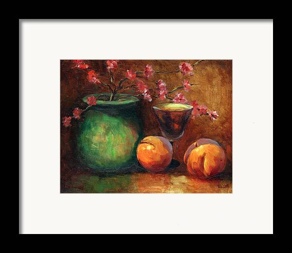 Peaches Framed Print featuring the painting Peach Blossoms by Linda Hiller
