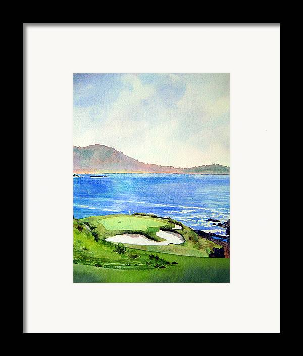 Transparent Watercolor Landscape Pebble Beach Golf Course 7th Hole. Us Open Ocean Marine Seascape At&t Pebble Beach Pro-am Framed Print featuring the painting Pebble Beach Gc 7th Hole by Scott Mulholland