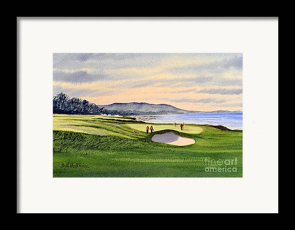 Golf Framed Print featuring the painting Pebble Beach Golf Course by Bill Holkham