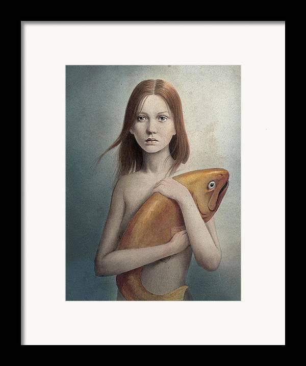 Woman Framed Print featuring the digital art Pet by Diego Fernandez