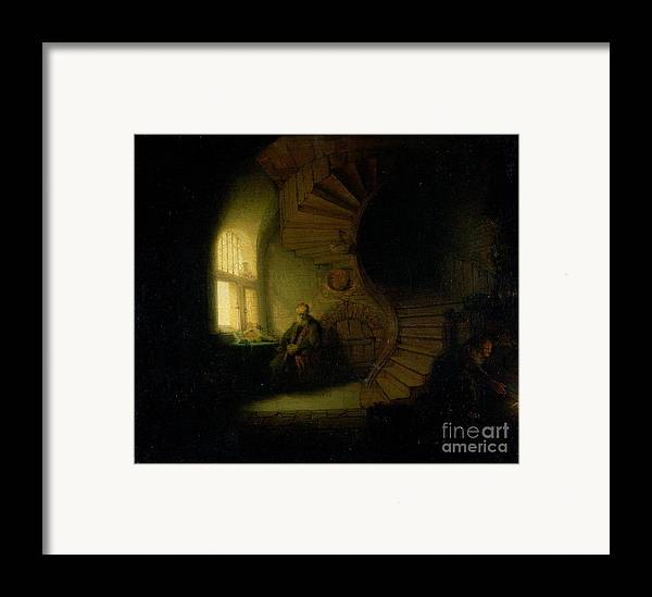 Philosopher Framed Print featuring the painting Philosopher In Meditation by Rembrandt
