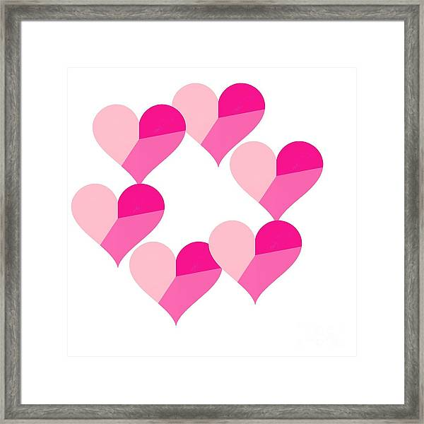 Pink Candy Hearts Framed Print featuring the digital art Pink Candy Hearts by Michael Skinner