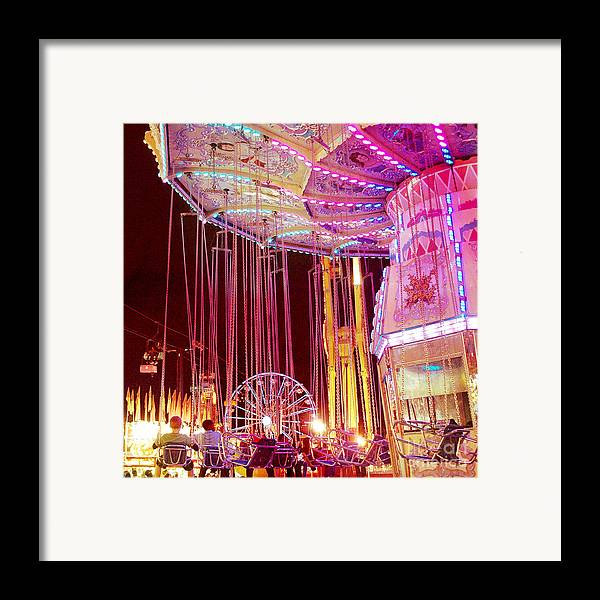 Hot Pink Ferris Wheel Photos Framed Print featuring the photograph Pink Carnival Festival Ferris Wheel Night Ride by Kathy Fornal