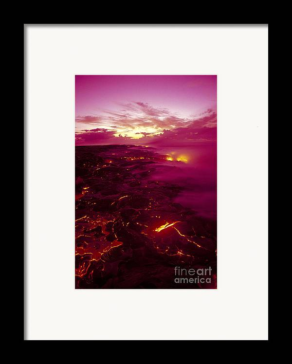 2003va Earlier Framed Print featuring the photograph Pink Volcano Sunrise by Ron Dahlquist - Printscapes