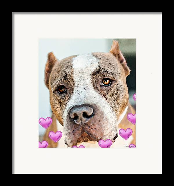 Pit Bull Framed Print featuring the painting Pit Bull Dog - Pure Love by Sharon Cummings