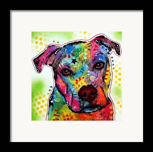Pitbull Framed Print featuring the painting Pity Pitbull by Dean Russo