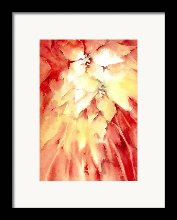 Poinsettias Framed Print featuring the painting Poinsettias by Joan Jones