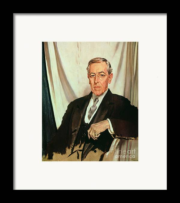 Portrait Of Woodrow Wilson (1856-1924) C.1919 (oil On Canvas) By Sir William Orpen (1878-1931) Framed Print featuring the painting Portrait Of Woodrow Wilson by Sir William Orpen