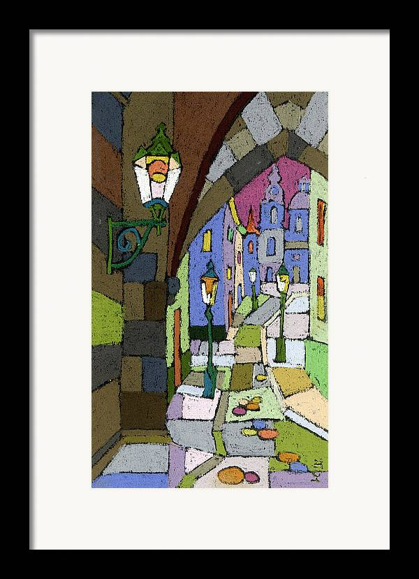 Pastel Framed Print featuring the painting Prague Old Street Mostecka by Yuriy Shevchuk