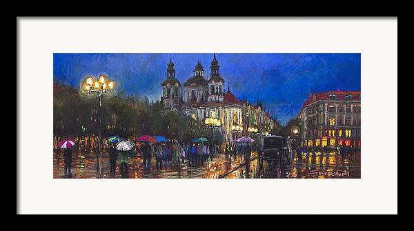 Prague Framed Print featuring the pastel Prague Old Town Square St Nikolas Ch by Yuriy Shevchuk
