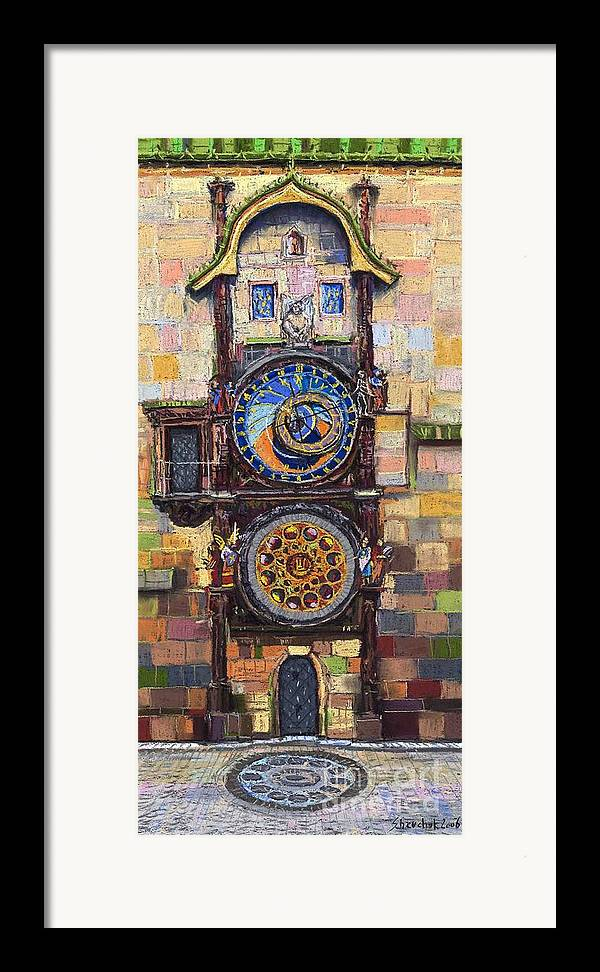 Cityscape Framed Print featuring the painting Prague The Horologue At Oldtownhall by Yuriy Shevchuk