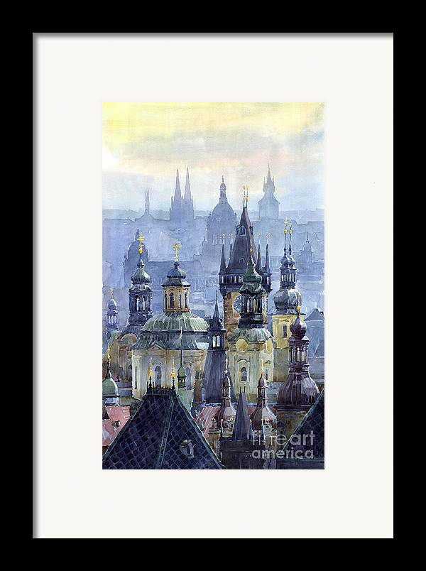 Architecture Framed Print featuring the painting Prague Towers by Yuriy Shevchuk