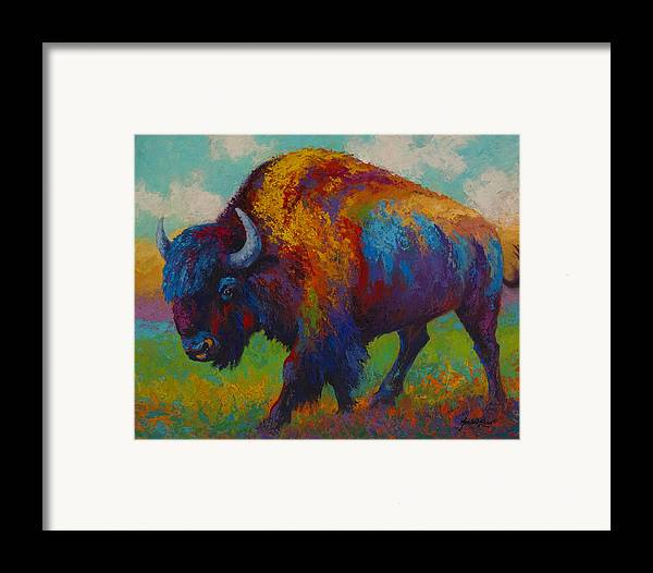 Bison Framed Print featuring the painting Prairie Muse - Bison by Marion Rose
