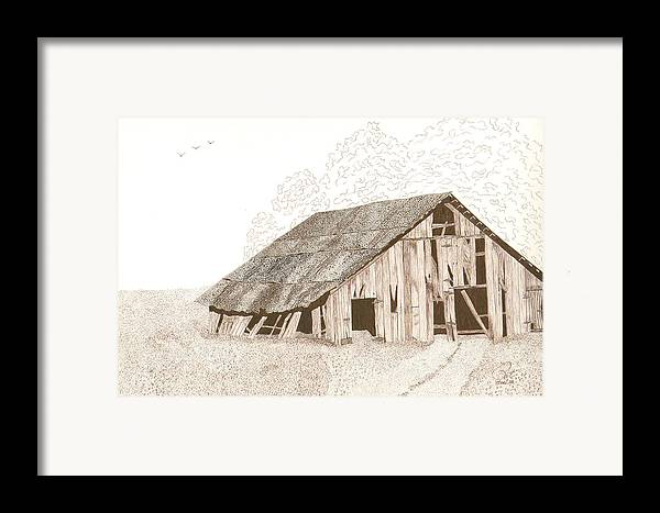 Pen And Ink Framed Print featuring the drawing Pre-collapse by Pat Price