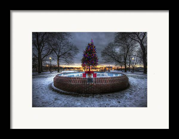 Prescott Framed Print featuring the photograph Prescott Park Christmas Tree by Eric Gendron