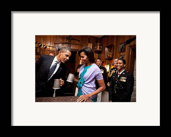 History Framed Print featuring the photograph President And Michelle Obama Attend by Everett