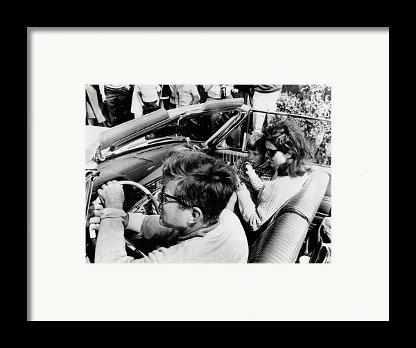 History Framed Print featuring the photograph President Kennedy Drives An Open Car by Everett