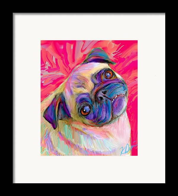 Pug Framed Print featuring the digital art Pugsly by Karen Derrico
