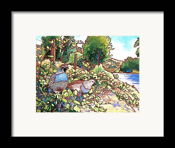Quail Framed Print featuring the painting Quails And Blackberries by Nadi Spencer