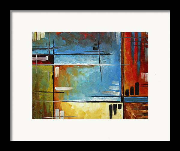 Abstract Framed Print featuring the painting Quiet Whispers By Madart by Megan Duncanson