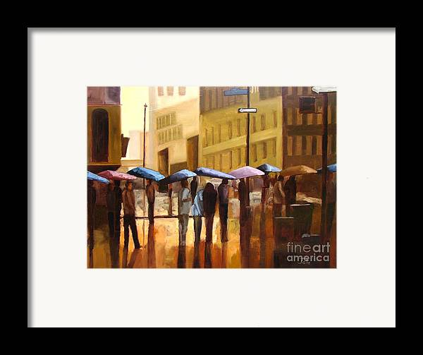 Cityscape Framed Print featuring the painting Rain In Manhattan Number Seventeen by Tate Hamilton