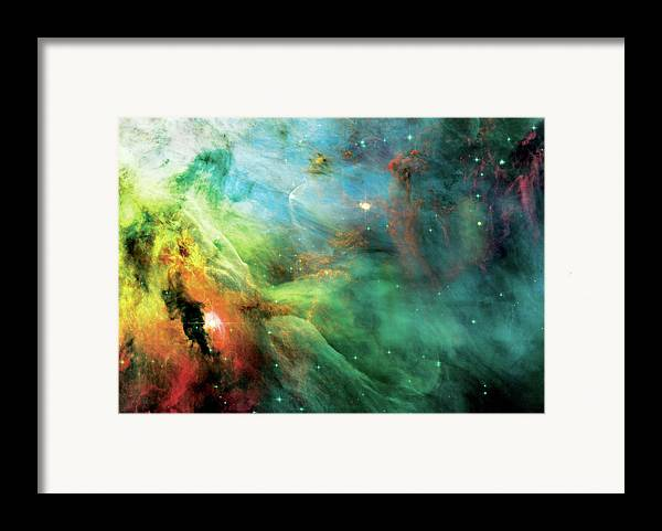 Nebula Framed Print featuring the photograph Rainbow Orion Nebula by The Vault - Jennifer Rondinelli Reilly