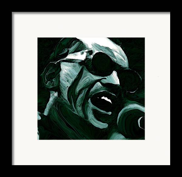 Musicians Framed Print featuring the painting Ray Charles by Jeff DOttavio