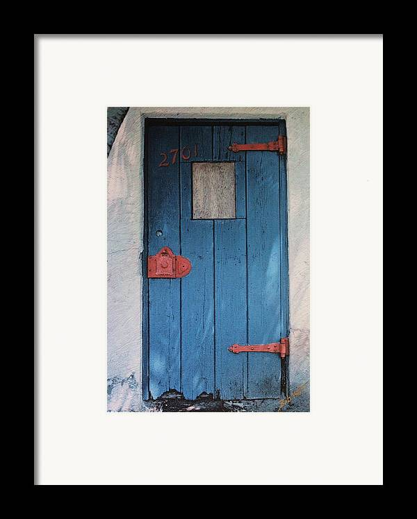 Door Framed Print featuring the photograph Red Hinges by Bob Whitt
