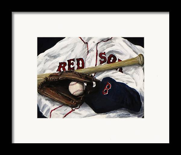 Baseball Framed Print featuring the painting Red Sox Number Nine by Jack Skinner
