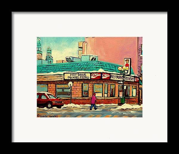 Greenspot Restaurant Deli Framed Print featuring the painting Restaurant Greenspot Deli Hotdogs by Carole Spandau