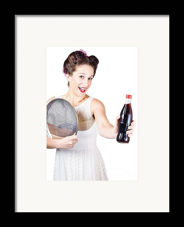Soda Framed Print featuring the photograph Retro Pin-up Girl Giving Bottle Of Soft Drink by Jorgo Photography - Wall Art Gallery