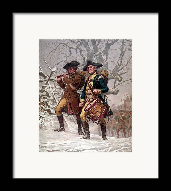 Minutemen Framed Print featuring the painting Revolutionary War Soldiers Marching by War Is Hell Store