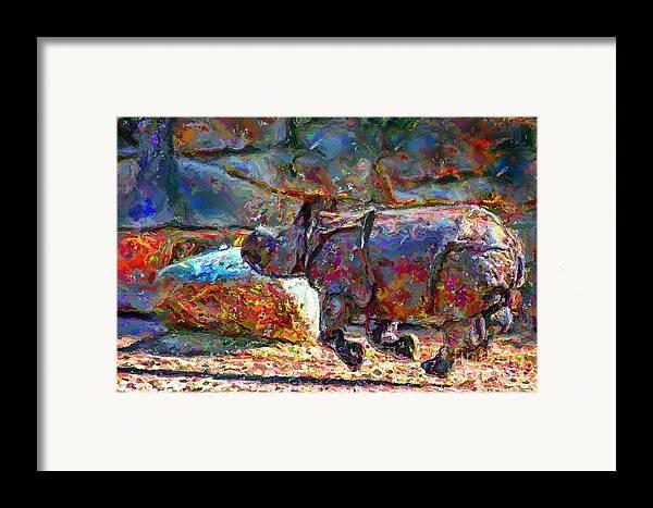 Animals Framed Print featuring the digital art Rhino On The Run by Marilyn Sholin