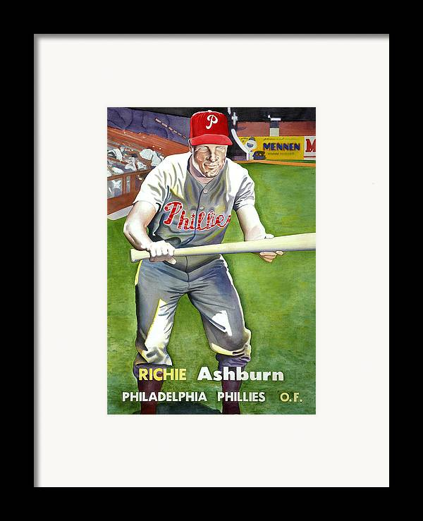 Baseball Art Framed Print featuring the painting Richie Ashburn Topps by Robert Myers