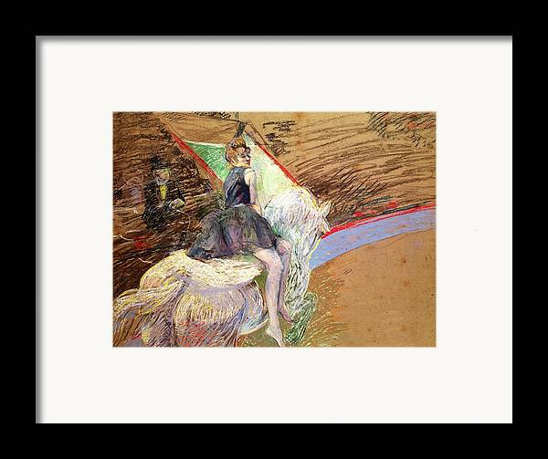 The Framed Print featuring the pastel Rider On A White Horse by Henri de Toulouse Lautrec