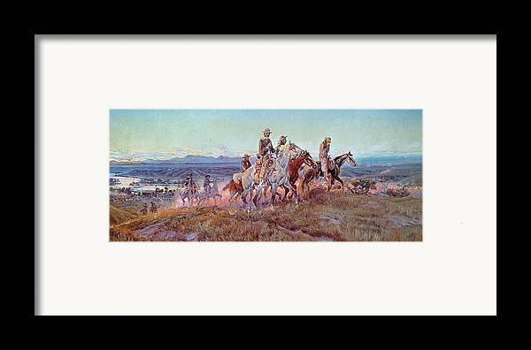 Riders Of The Open Range (oil On Canvas) By Charles Marion Russell (1865-1926) Framed Print featuring the painting Riders Of The Open Range by Charles Marion Russell