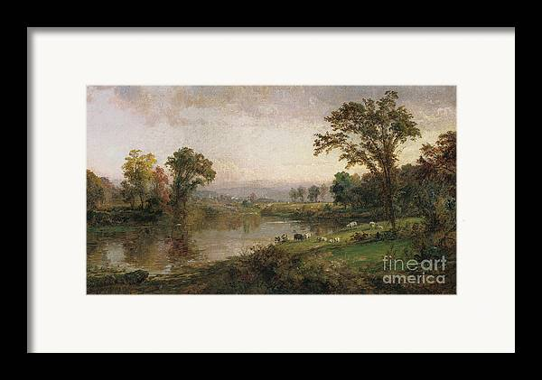 Riverscape - Early Autumn Framed Print featuring the painting Riverscape In Early Autumn by Jasper Francis Cropsey