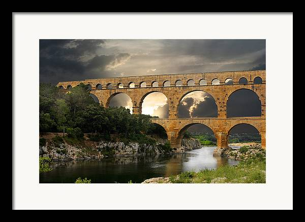 Bridge Framed Print featuring the photograph Roman Pont Du Gard by Carver Kearney