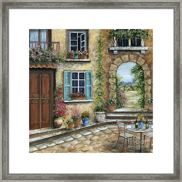 Romantic Tuscan Courtyard Il Framed Print By Marilyn Dunlap
