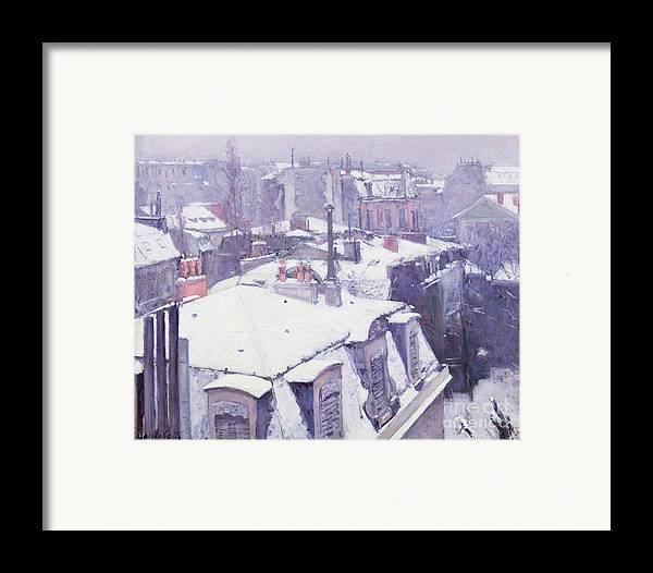 Snow Framed Print featuring the painting Roofs Under Snow by Gustave Caillebotte