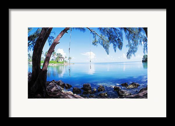 Rope swing over water florida keys framed print by for Swing over water