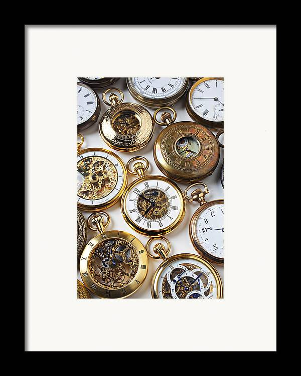 Time Framed Print featuring the photograph Rows Of Pocket Watches by Garry Gay