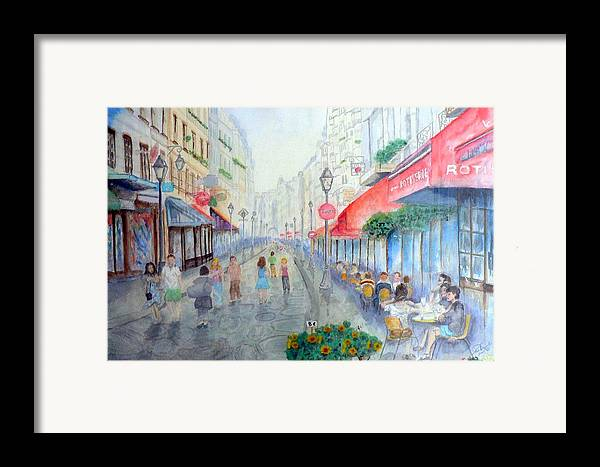 Late Afternoon Streetscape Framed Print featuring the painting Rue Montorgueil Paris Right Bank by Dan Bozich