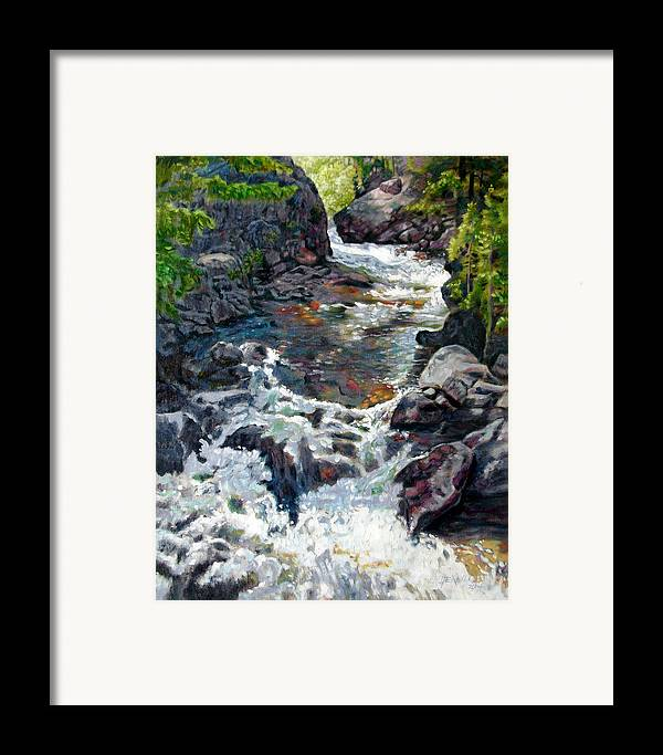 A Fast Moving Stream In Colorado Rocky Mountains Framed Print featuring the painting Rushing Waters by John Lautermilch
