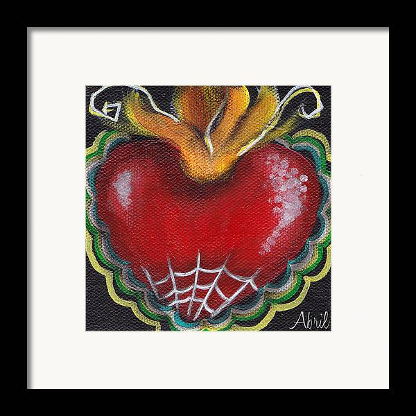 Sacred Heart Framed Print featuring the painting Sagrado Corazon 2 by Abril Andrade Griffith