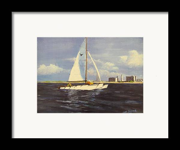 Sailboat Framed Print featuring the painting Sailing In The Netherlands by Jack Skinner